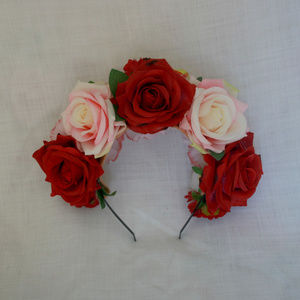 Mexican Day of the Dead rose headband.